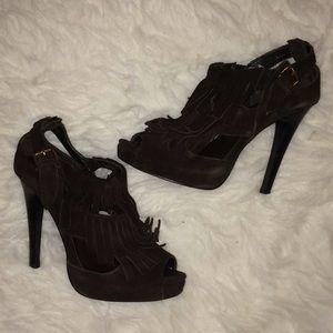 Shoes - Brown Suede Fringe Open-Toe Platform Heels